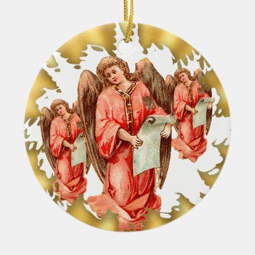 Ornamento de cerámica del navidad de los ángeles adorno redondo de cerámica
