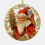 Ornamento de cerámica del navidad de Santa del vin Ornato