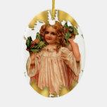 Ornamento de cerámica del navidad del ángel del adorno ovalado de cerámica