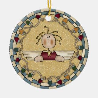 Ornamento de cerámica del navidad del ángel divino adorno navideño redondo de cerámica