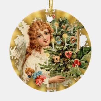 Ornamento de cerámica del navidad del chica del adorno navideño redondo de cerámica