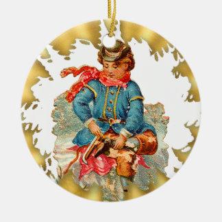 Ornamento de cerámica del navidad del patinaje de adorno redondo de cerámica