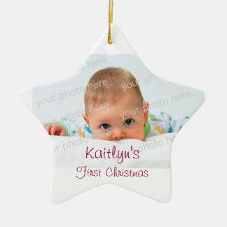 Ornamento de cerámica del primer navidad del bebé ornato