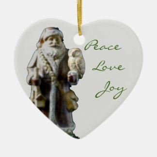 Ornamento de cerámica en forma de corazón del adorno navideño de cerámica en forma de corazón