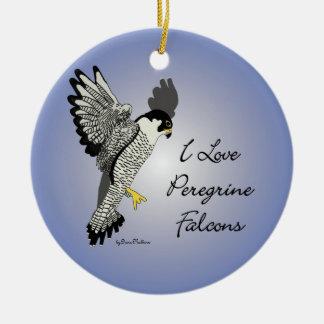 Ornamento de cerámica redondo del halcón de adorno navideño redondo de cerámica