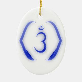 Ornamento de Chakra de la intuición Adorno Navideño Ovalado De Cerámica