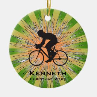 Ornamento de ciclo que monta en bicicleta adorno navideño redondo de cerámica
