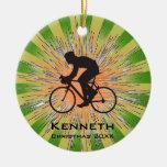 Ornamento de ciclo que monta en bicicleta adorno de navidad