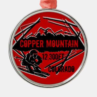 Ornamento de cobre de la elevación del esquí de adorno navideño redondo de metal