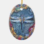 Ornamento de cobre de la libélula de PMACarlson Ornamento Para Arbol De Navidad