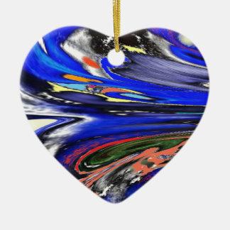 """Ornamento """"de cristal"""" virtual enojado del navidad adorno navideño de cerámica en forma de corazón"""