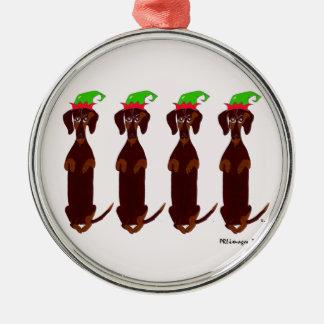 Ornamento de cuatro navidad de los Dachshunds Adorno Redondo Plateado