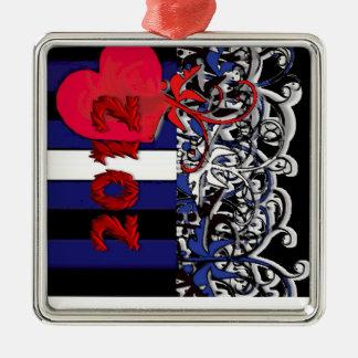 Ornamento de cuero del orgullo 2012 adorno navideño cuadrado de metal
