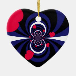 Ornamento de cuero del orgullo adorno navideño de cerámica en forma de corazón