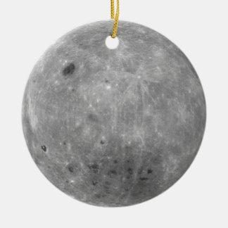 Ornamento de doble cara de la luna adorno navideño redondo de cerámica