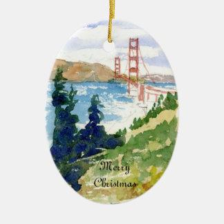 Ornamento de doble cara de puente Golden Gate Adorno Navideño Ovalado De Cerámica