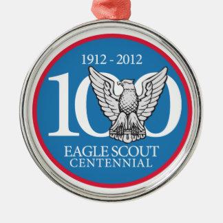 Ornamento de Eagle Scout Adorno Redondo Plateado