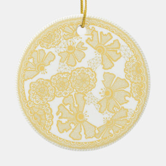Ornamento de encaje adorno navideño redondo de cerámica