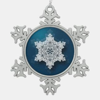 Ornamento de encaje del copo de nieve del estaño adorno de peltre en forma de copo de nieve