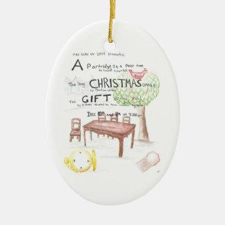 Ornamento de encargo 2010 del árbol del juego de adorno navideño ovalado de cerámica