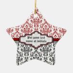 Ornamento de encargo blanco rojo del negro del adorno de cerámica en forma de estrella