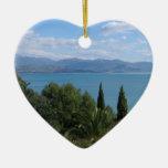 Ornamento de encargo de doble cara de Costa del Adorno Navideño De Cerámica En Forma De Corazón