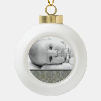 Ornamento de encargo de la bola de la foto de adorno de cerámica en forma de bola