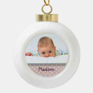 Ornamento de encargo de la bola de la foto del beb
