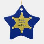 Ornamento de encargo de la estrella del navidad adorno navideño de cerámica en forma de estrella