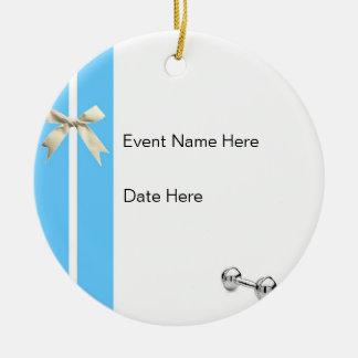 ornamento de encargo de la fiesta de bienvenida al adorno navideño redondo de cerámica