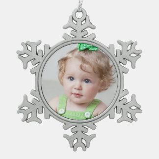 Ornamento de encargo de la foto adorno de peltre en forma de copo de nieve