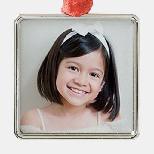 Ornamento de encargo de la foto adorno navideño cuadrado de metal