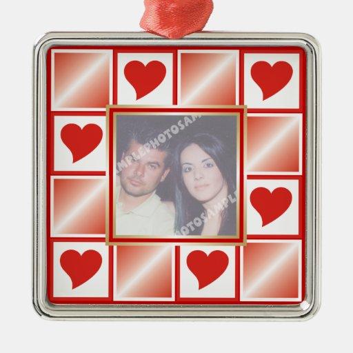 Ornamento de encargo de la foto del amor de las adorno navideño cuadrado de metal