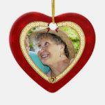 Ornamento de encargo de la foto del corazón ornamento para reyes magos