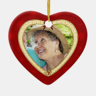 Ornamento de encargo de la foto del corazón adorno de cerámica en forma de corazón
