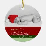 Ornamento de encargo del 1r navidad del bebé (rojo adorno para reyes