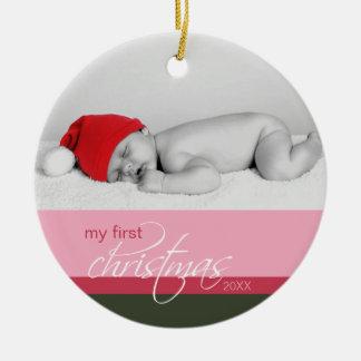 Ornamento de encargo del 1r navidad del bebé rosa adorno de navidad