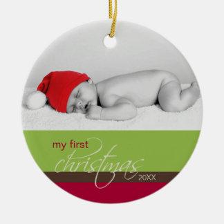 Ornamento de encargo del 1r navidad del bebé verd ornamento para reyes magos