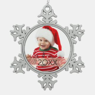 Ornamento de encargo del año de la foto adorno de peltre en forma de copo de nieve