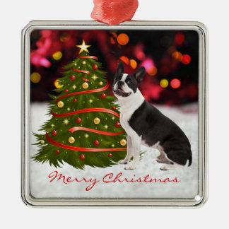 Ornamento de encargo del árbol de navidad del adorno navideño cuadrado de metal