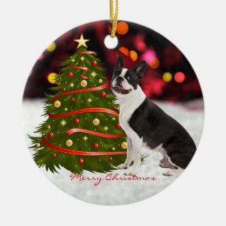Ornamento de encargo del árbol de navidad del adorno navideño redondo de cerámica