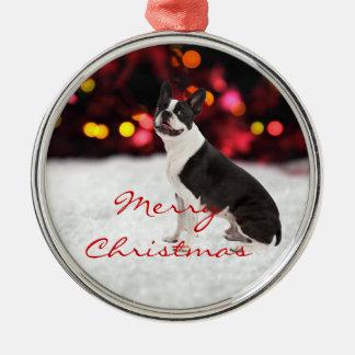 Ornamento de encargo del árbol de navidad del adorno navideño redondo de metal