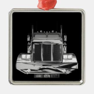 Ornamento de encargo del camión del retrovisor adorno cuadrado plateado