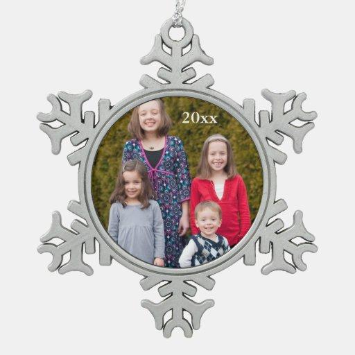 Ornamento de encargo del copo de nieve de la foto