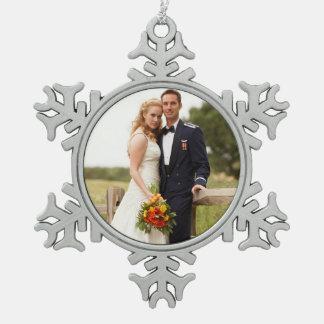 Ornamento de encargo del copo de nieve de la foto adorno