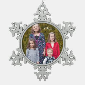 Ornamento de encargo del copo de nieve de la foto adorno de peltre en forma de copo de nieve