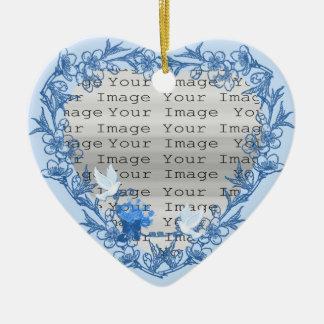 Ornamento de encargo del corazón de la paloma adorno de cerámica en forma de corazón