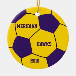 Ornamento de encargo del fútbol adorno navideño redondo de cerámica