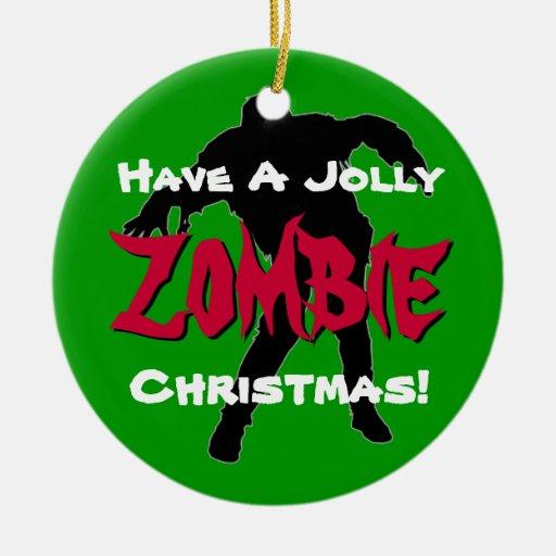 Ornamento de encargo del navidad alegre del zombi  ornamentos de navidad