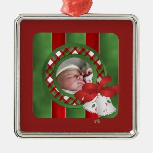 Ornamento de encargo del navidad de la foto de adorno navideño cuadrado de metal